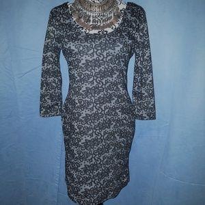 Almost Famous gray black floral print dress L